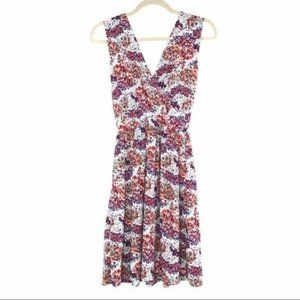 VINTAGE (M) Purple Floral Sleeveless V Neck Dress